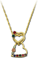 Black Hills Gold Mothers Heart Pendant, Dangling Hearts with Birthstones