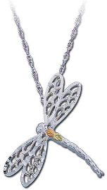 Sterling Silver Dragonfly Pendant with Black Hills Gold Leaves