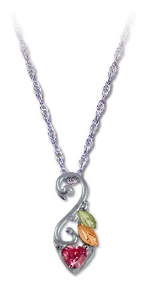 Sterling Silver Pendant with Heart-Shaped Cubic Zirconia and Leaves
