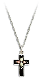 Black Hills Silver Black Enamel Cross Necklace with Leaves