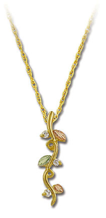 Black Hills Gold Necklace and Pendant with Leaves and Diamonds
