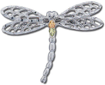 Sterling Silver Dragonfly Brooch Pin with Black Hills Gold Leaves