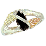 Sterling Silver Ladies Onyx Ring with Black Hills Gold Leaves