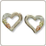 Sterling Silver Heart Earrings with Black Hills Gold Leaves (SKU: 01013SS)