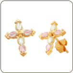 Black Hills Gold Cross Earrings, for Pierced Ears (SKU: 01300)
