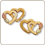 Black Hills Gold Heart Earrings for Pierced Ears (SKU: 01629)
