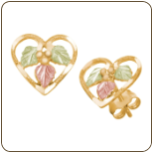 Black Hills Gold Heart Earrings with Black Hills Gold Leaves (SKU: 01657)