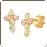 Black Hills Gold Cross Earrings with Leaves for Pierced Ears (SKU: 01683)