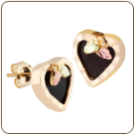 Black Hills Gold Heart Earrings with Onyx (SKU: 01688)
