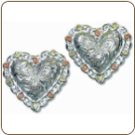 Sterling Silver Heart Earrings with Black Hills Gold Leaves, for Pierced Ears (SKU: 01765SS)