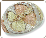Sterling Silver Men's Ring with Black Hills Gold Leaves (SKU: 02319SS)