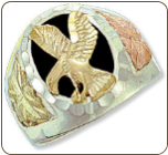 Sterling Silver Men's Onyx Ring with Eagle and Black Hills Gold Leaves (SKU: 02402SS)