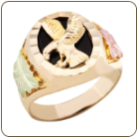 Men's Black Hills Gold Onyx Ring with Eagle (SKU: 02402)