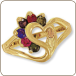 Black Hills Gold Mothers Ring with Birthstones (SKU: 02522)