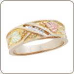 A2. Men's Black Hills Gold Wedding Band with Leaves and Diamonds (SKU: 02545)