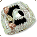 Sterling Silver Men's Onyx Ring with Eagle Head and Black Hills Gold Leaves (SKU: 02675SS)