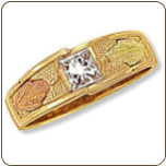B3. Ladies Black Hills Gold Wedding Band with Diamond (SKU: 02692)