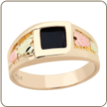 Men's Black Hills Gold Onyx Ring (SKU: 02740)