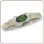 Sterling Silver Ladies Ring with Black Hills Gold Leaves and Birthstone (SKU: 02793SS)