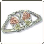 Sterling Silver Ladies Butterfly Ring with Black Hills Gold Leaves (SKU: 02809SS)
