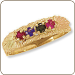 Black Hills Gold Mothers Ring with Birthstones (SKU: 02831)
