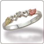 Sterling Silver Heart Ring with Diamond and Leaves (SKU: 02840XSS)