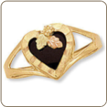 Black Hills Gold Ladies Onyx Ring with Onyx Heart (SKU: 02841)