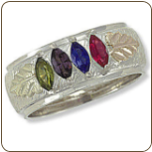 Black Hills Silver Mothers Ring with Birthstones (SKU: 02853SS)