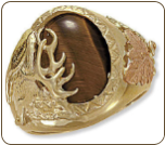 Men's Black Hills Gold Ring with Elk and Tiger Eye or Onyx Inset (SKU: 02869-505)