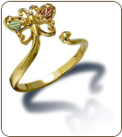 Black Hills Gold Adjustable Butterfly Toe Ring with Leaves (SKU: 02935)