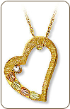 Black Hills Gold Heart Pendant with Black Hills Gold Leaves and Diamond (SKU: 03214)