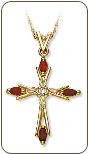 Black Hills Gold Cross Pendant with Diamond and Genuine Rubies (SKU: 03300-207)