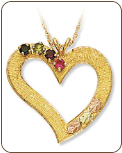 Black Hills Gold Heart Pendant with Birthstones (SKU: 03306)