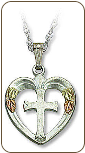 Cross in Heart Pendant, in Sterling Silver  (SKU: 03389SS)