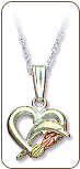 Sterling Silver Heart Pendant with Dolphin and Black Hills Gold Leaves (SKU: 03536SS)