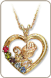 Black Hills Gold Rose in Heart Pendant with Birthstones (SKU: 03593)