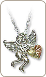 Sterling Silver Angel Pendant with Black Hills Gold Heart (SKU: 03644SS)