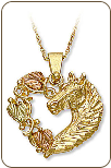 Black Hills Gold Pendant with Horse's Head and Heart (SKU: 03756)