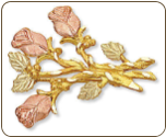 Black Hills Gold Rose Brooch Pin (SKU: 04025)