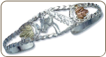 Sterling Silver Cuff Bracelet with Horse's Head and Black Hills Gold Leaves (SKU: 07289SS)