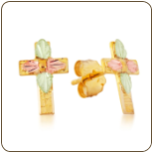 Black Hills Gold Cross Earrings with Leaves for Pierced Ears (SKU: A118P)