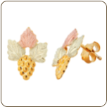Black Hills Gold Classic Earrings with Leaves, for Pierced Ears or Non-Pierced Ears (SKU: A138)