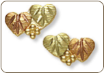 Black Hills Gold Heart Earrings for Pierced Ears (SKU: A146P)