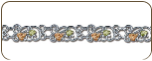 Sterling Silver Bracelet with Black Hills Gold Leaves (SKU: BR3004SS)