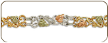 Sterling Silver Bracelet with Black Hills Gold Leaves (SKU: BR3008SS)