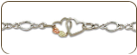 Sterling Silver Ankle Bracelet with dual Hearts and Leaves (SKU: BR3101ASS)