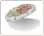 Ladies or Child's Sterling Silver Ring with Black Hills Leaves (SKU: C201SS)
