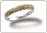 Sterling Silver Mens, Ladies or Childrens UNISEX Ring with Black Hills Gold Leaves (SKU: C207SS)