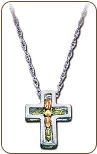 Sterling Silver Cross Pendant with Black Hills Gold Leaves (SKU: CR674SS)