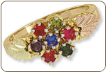 Black Hills Gold Mothers Ring with Birthstones (SKU: D2253)